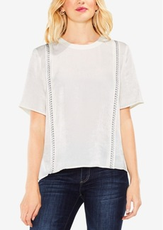 Vince Camuto Embroidered Satin Top