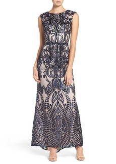 Vince Camuto Embroidered Sequin Mesh Gown