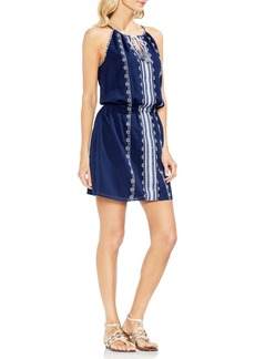 Vince Camuto Embroidered Tie Neck Cotton Halter Dress