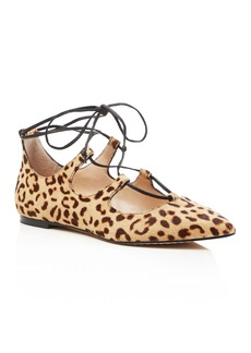 VINCE CAMUTO Emmari Leopard Print Lace Up Pointed Toe Flats