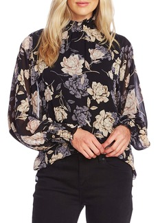 Vince Camuto Enchanted Floral High Neck Long Sleeve Chiffon Blouse
