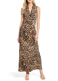 Vince Camuto Exotic Animal Print Halter Neck Maxi Dress