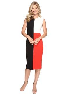 Vince Camuto Extend Shoulder Color Blocked Midi Dress