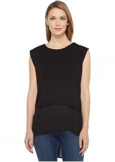 Vince Camuto Extended Shoulder High-Low Mix Media Layered Blouse