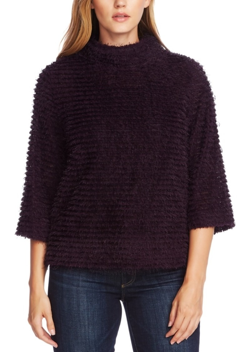 Vince Camuto Eyelash-Striped Mock-Neck Top
