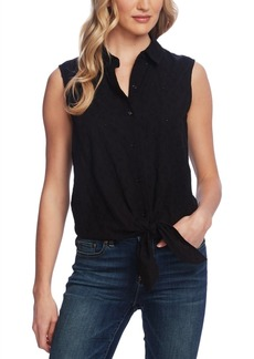 Vince Camuto Eyelet Button-Down Tie-Front Blouse
