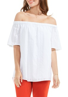 Vince Camuto Eyelet Cotton Off the Shoulder Blouse