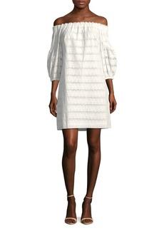 Vince Camuto Eyelet Cotton Off-The-Shoulder Shift Dress