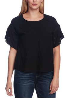 Vince Camuto Eyelet Tulip-Sleeve Top