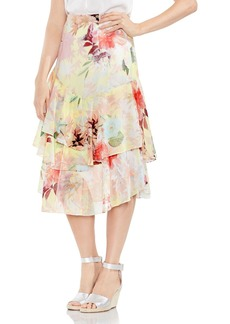 VINCE CAMUTO Faded Blooms Tiered Midi Skirt