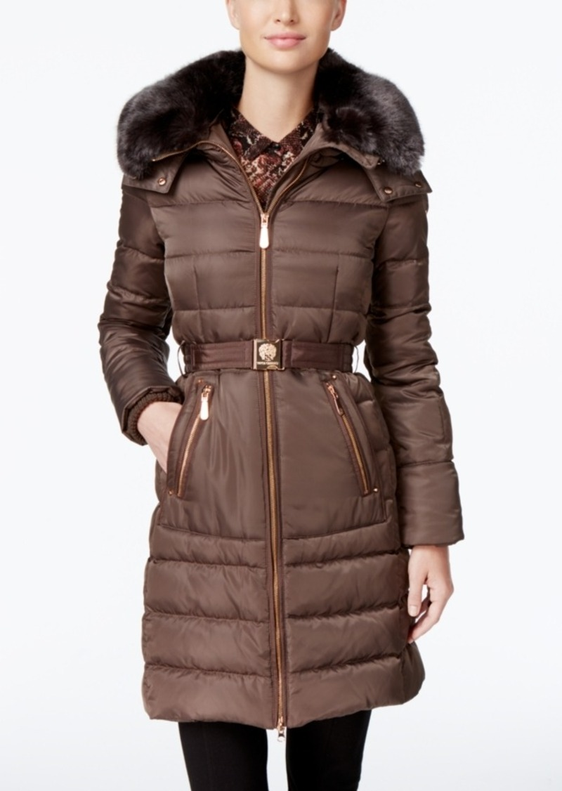 a2f39f7234c Vince Camuto Vince Camuto Faux-Fur-Collar Belted Down Coat