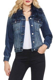 Vince Camuto Faux Fur Collar Denim Jacket