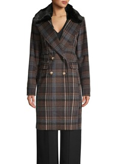 Vince Camuto Faux Fur Collar Double-Breasted Plaid Coat