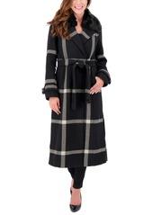 Vince Camuto Faux-Fur-Collar Plaid Maxi Coat