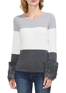 Vince Camuto Faux Fur Cuff Colorblock Sweater (Regular & Petite)