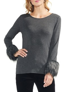 Vince Camuto Faux Fur Cuff Top (Regular & Petite)