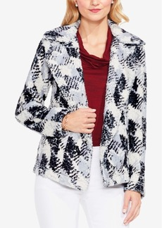 Vince Camuto Faux-Fur Houndstooth Blazer