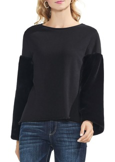 VINCE CAMUTO Faux-Fur Sleeve Sweatshirt