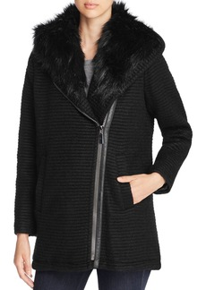 VINCE CAMUTO Faux Fur Trim Asymmetric Front Coat