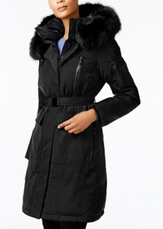 Vince Camuto Faux-Fur-Trim Belted Coat