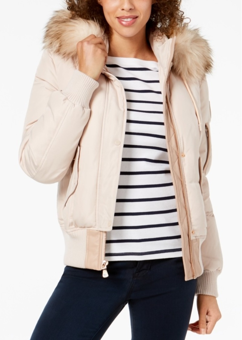 7c4fa9206469 Vince Camuto Vince Camuto Faux-Fur-Trim Hooded Bomber Coat | Outerwear