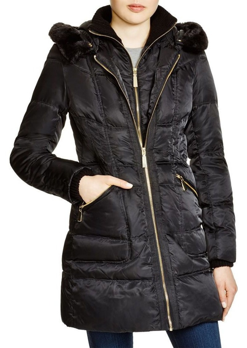 VINCE CAMUTO Faux Fur-Trim Hooded Puffer Coat