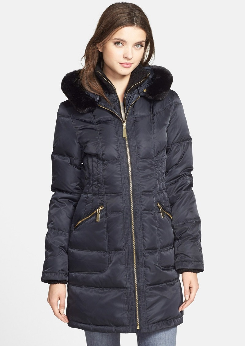 Vince Camuto Vince Camuto Faux Fur Trim Hooded Quilted
