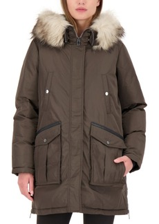 Vince Camuto Faux-Fur-Trim Hooded Water-Resistant Parka Coat