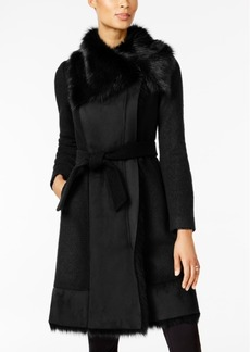 Vince Camuto Faux-Fur-Trim Mixed-Media Coat