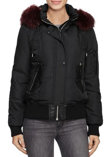 VINCE CAMUTO Faux Fur Trim Puffer Bomber Jacket