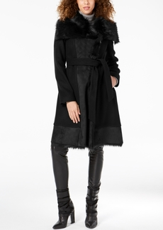Vince Camuto Faux-Fur-Trim Wrap Coat