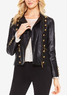 Vince Camuto Faux-Leather Military Jacket