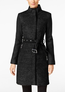 Vince Camuto Petite Faux Leather Trimmed Belted Boucle Wool Coat