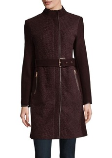 Vince Camuto Faux Leather-Trim Trench Coat