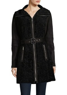 Vince Camuto Faux Shearling and Suede Belted Coat