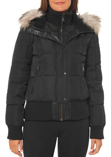 VINCE CAMUTO Faux Shearling-Lined Hood Bomber Coat
