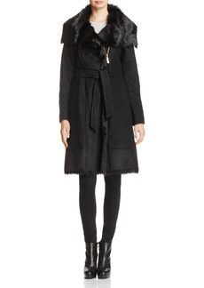 VINCE CAMUTO Faux Shearling Mixed Media Coat