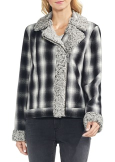 Vince Camuto Faux Shearling Trim Plaid Jacket
