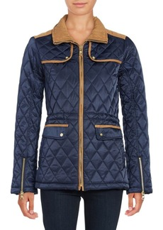 Vince Camuto Faux Suede-Trimmed Quilted Jacket