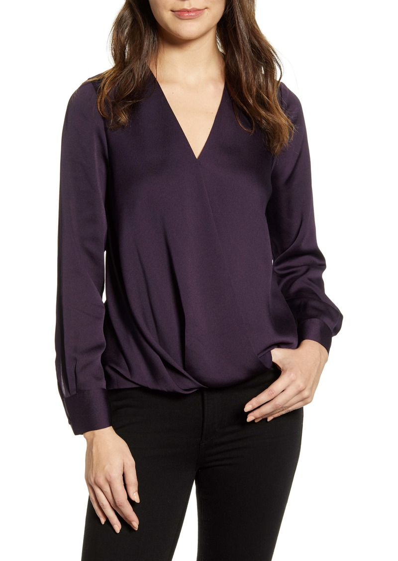 Vince Camuto Faux Wrap Satin Blouse