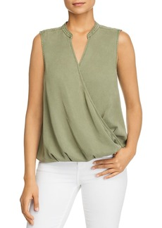 VINCE CAMUTO Faux-Wrap Tencel Top