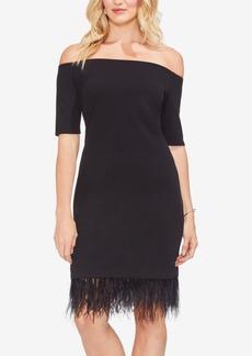 Vince Camuto Feather-Hem Off-The-Shoulder Dress