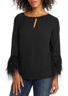 VINCE CAMUTO Feather Sleeve Keyhole Top