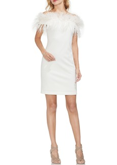 Vince Camuto Feather Trim Off the Shoulder Dress