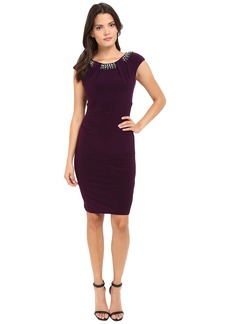 Vince Camuto Fitted Cap Sleeve Dress with Beaded Neckline