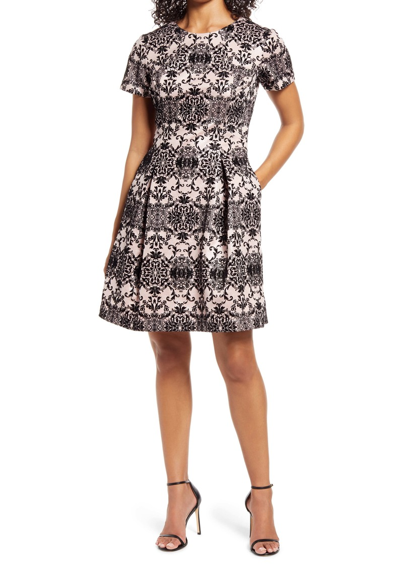 Vince Camuto Flocked Cap Sleeve Fit & Flare Dress