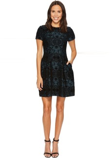 Vince Camuto Flocked Novelty Fit and Flare Dress
