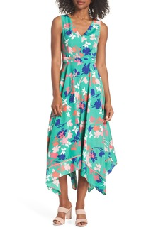 Vince Camuto Floral Asymmetric Hem Midi Dress