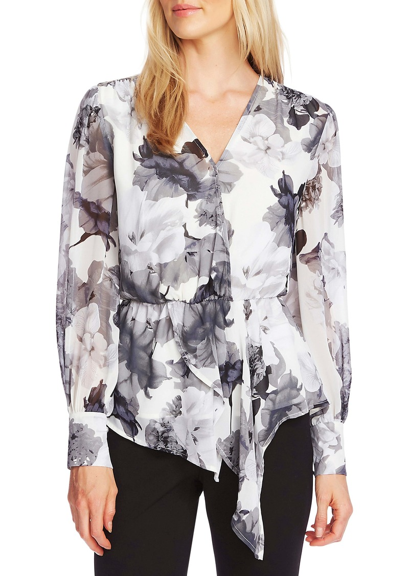 Vince Camuto Floral Asymmetrical Hem Long Sleeve Top