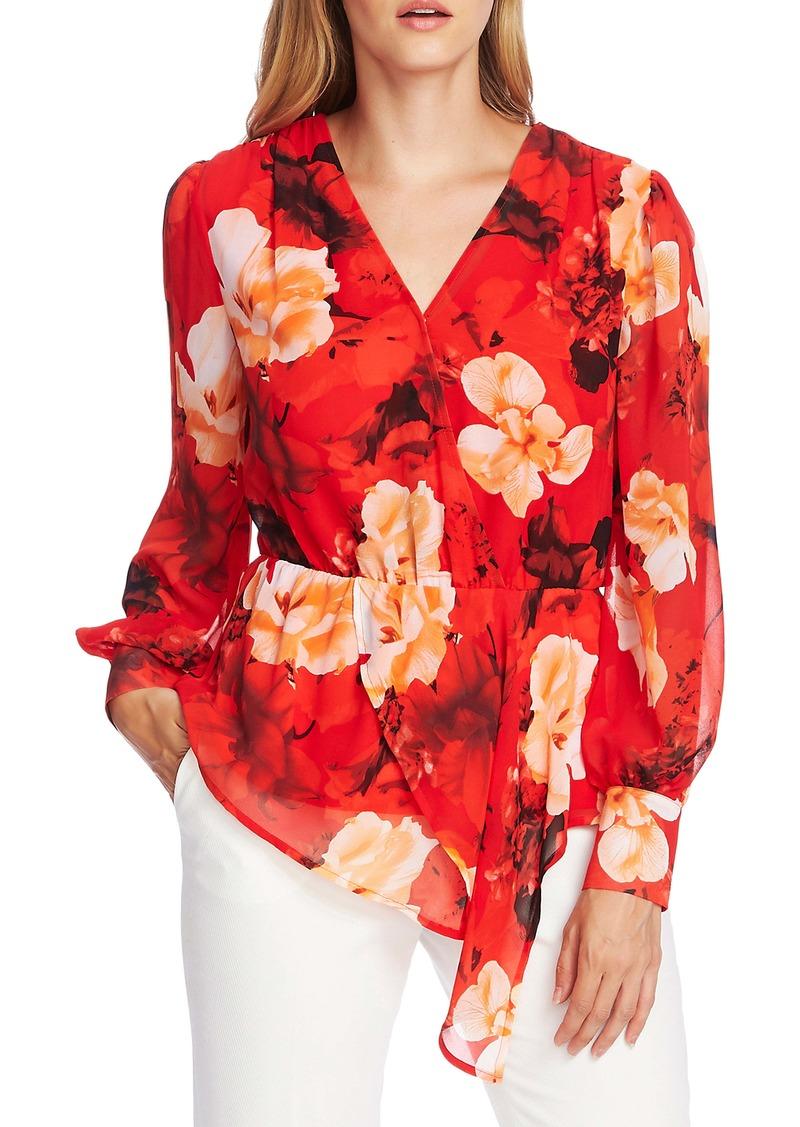Vince Camuto Floral Asymmetrical Hem Long Sleeve Top